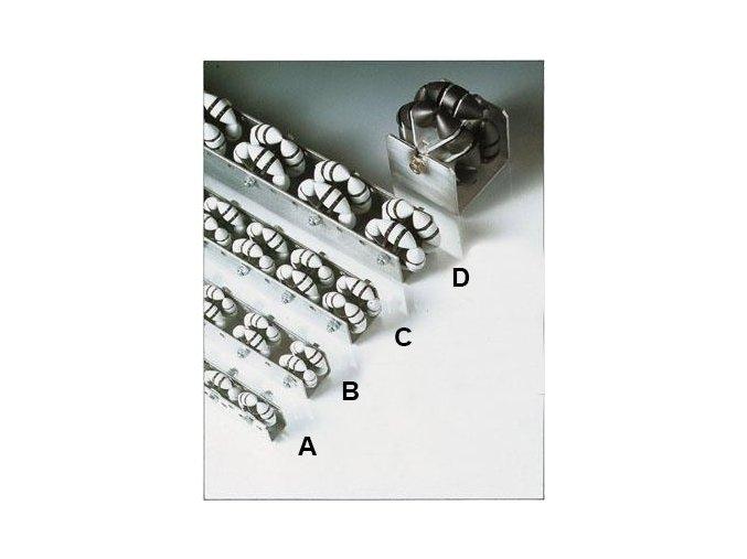 Všesmerová Otočné lišta, dĺžka 1 m, plast, šírka 44 mm, rozteč 100 mm (typ B)