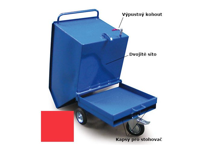 Výklopný vozík na špony, triesky 250 litrov, s kapsami pre vysokozdvižné vozíky, dvojitým dnom, sítom, výpustným kohútom,červený