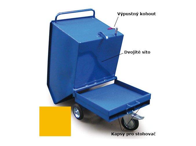 Výklopný vozík na špony, triesky 250 litrov, s kapsami pre vysokozdvižné vozíky, dvojitým dnom, sítom, výpustným kohútom,žltý