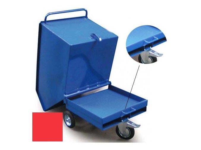 Výklopný vozík na špony, triesky 250 litrov, var.s vrecka, červená