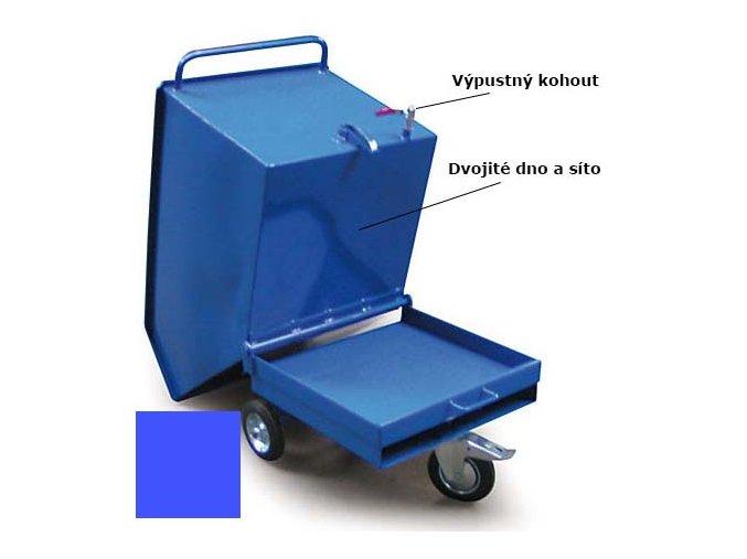 Výklopný vozík na špony, triesky 400 litrov, var.s kohútom, modrý