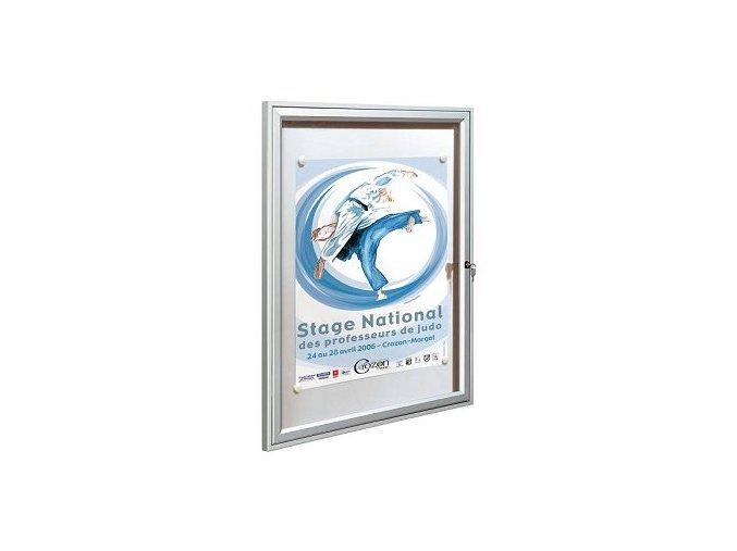 Interiérová jednokrídlové vitrína 400 x 550 mm, hĺbka 30 mm - strieborne anodizovaná