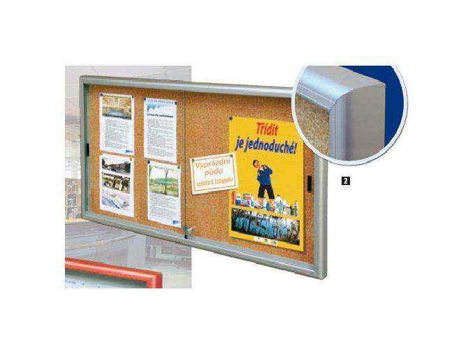 Interiérová jednostranná posuvná vitrína 750 x 1000 mm, hĺbka 34 mm - strieborne anodizovaná, korkový podklad