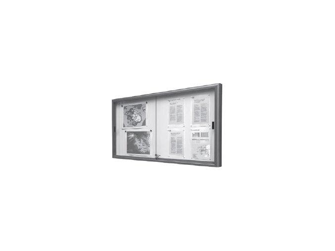 Interiérová jednostranná posuvná vitrína 750 x 1000 mm, hĺbka 60 mm - strieborne anodizovaná