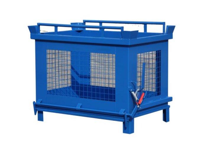 Kontajner s výklopným dnom, 1000 litrov, modrá, drôtené steny