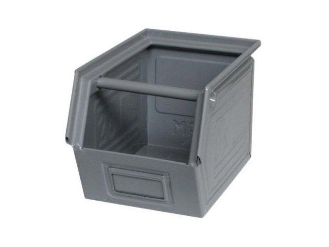Kovový box skosený 20 x 30 x 20 cm, šedá