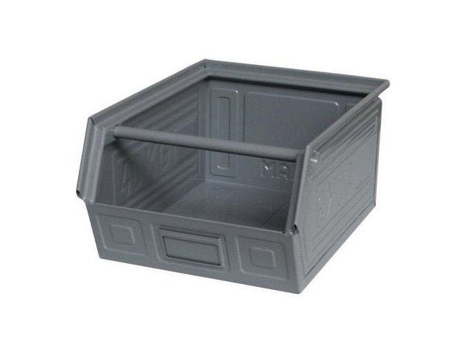 Kovový box skosený 20 x 40 x 30 cm, šedá
