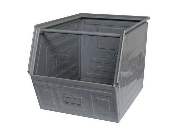 Kovový box skosený, 40 x 60 x 40 cm, šedá