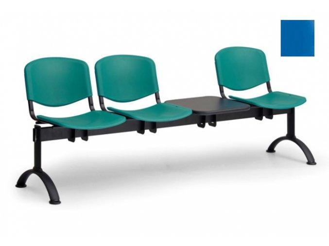 Lavica ISO, kov-plast modrý (trojsedák-sa-stolíkom)