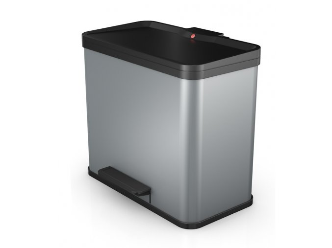 Odpadkový kôš Hailo na triedený odpad 17 + 9 litrov, strieborný lak