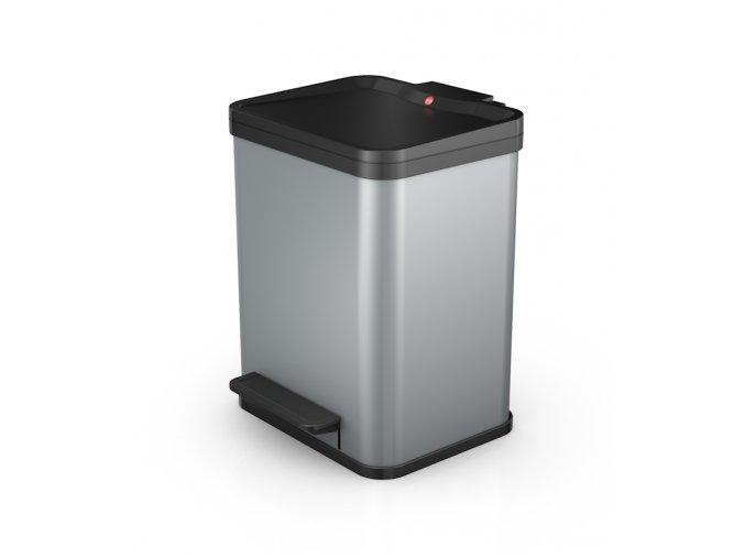 Odpadkový kôš Hailo na triedený odpad 2 × 9 litrov - strieborný lak