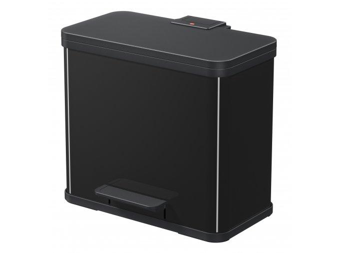 Odpadkový kôš Hailo na triedený odpad 3 × 9 litrov, čierny lak