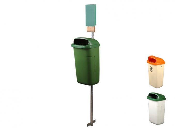 Odpadkový kôš na psie exkrementy - SET, krémová-oranžová