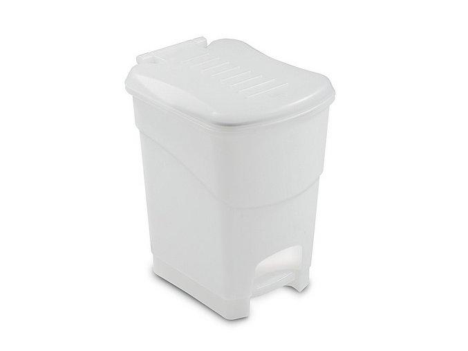 Odpadkový kôš nášlapný, 10 litrov, biely