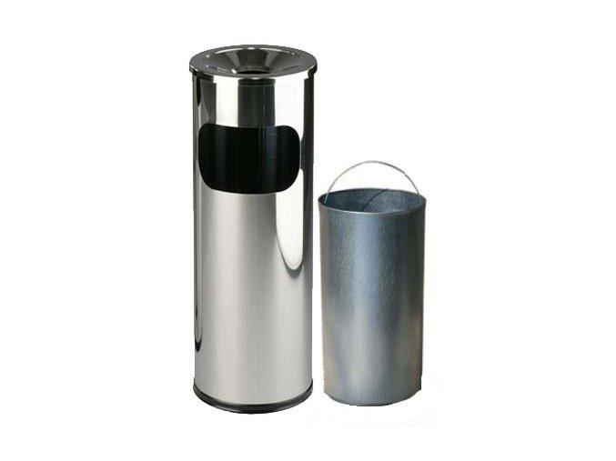 Odpadkový kôš nerezový s popolníkom s vnutorna nádobou, lesklý
