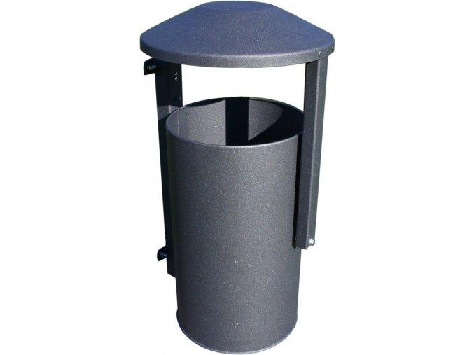 Odpadkový kôš vonkajšie na stĺpik - šedý