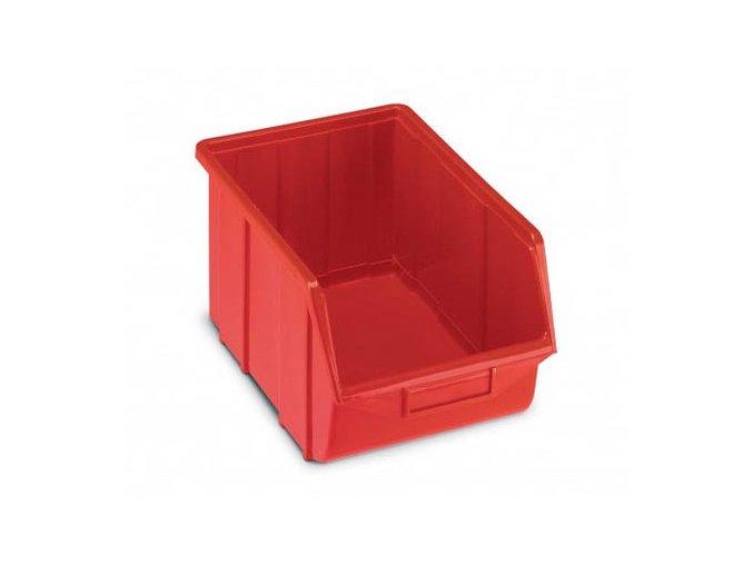 Plastová krabička 129 × 160 × 250, červená, bal.j.30 ks