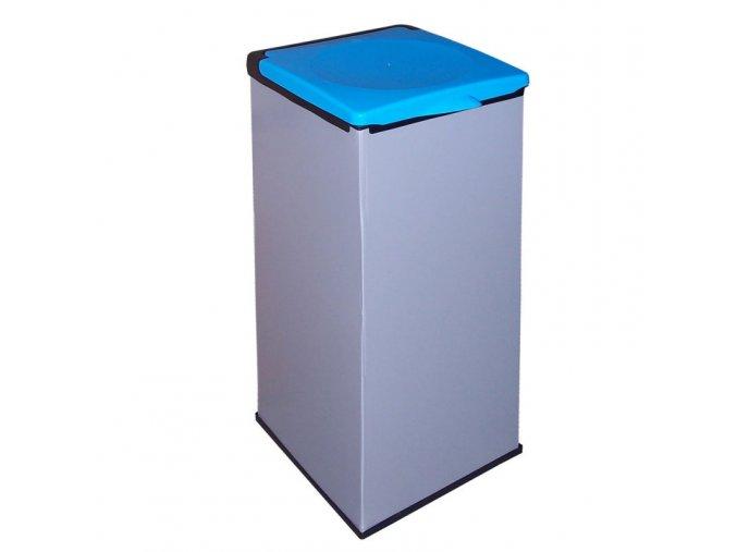 Plastový Economy kôš na triedenie, 90 l - modré veko