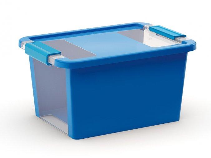 Plastový úložný box s vekom na klip, 11 l, modrá