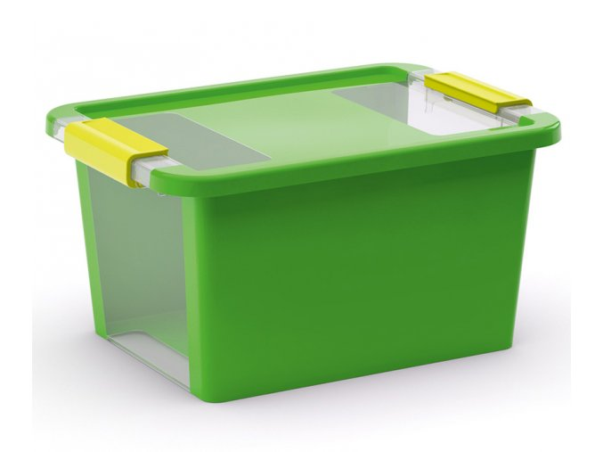 Plastový úložný box s vekom na klip, 11 l, zelená
