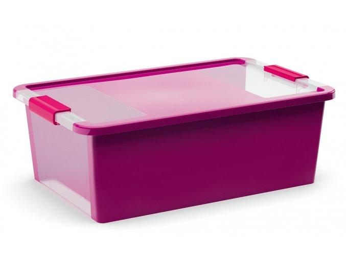 Plastový úložný box s vekom na klip, 26l, fialová