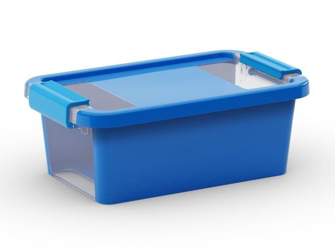Plastový úložný box s vekom na klip, 3 l, modrá