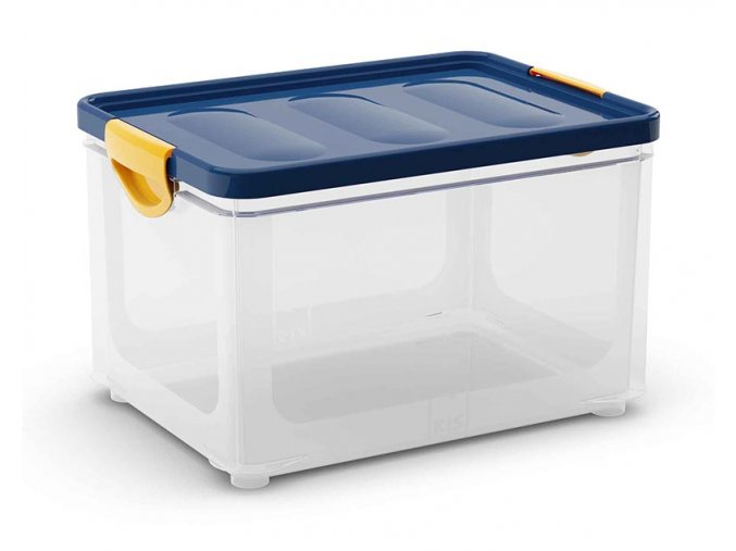Plastový úložný box s vekom na klip, 32,5 l