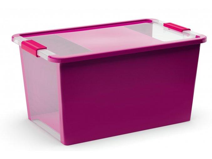 Plastový úložný box s vekom na klip, 40 l, fialová