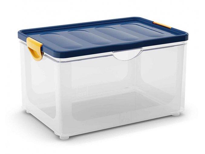 Plastový úložný box s vekom na klip, 58,5 l