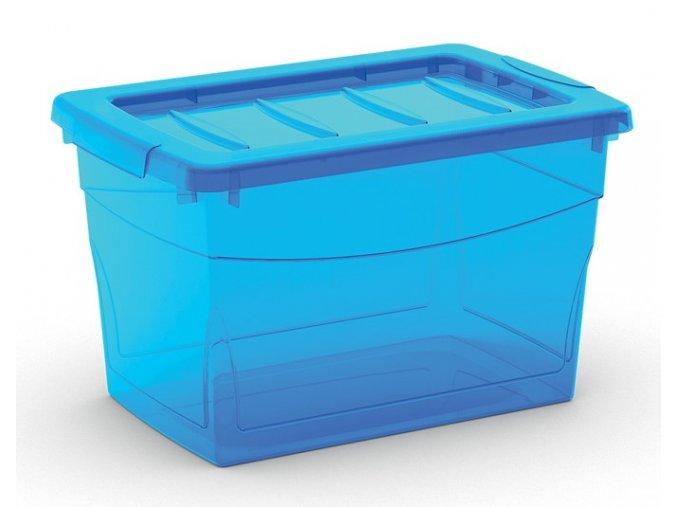 Plastový úložný box s vekom na klip, priehľadný, modrá, 16 l