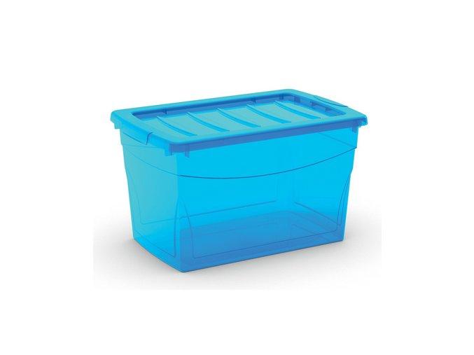 Plastový úložný box s vekom na klip, priehľadný, modrá, 30 l