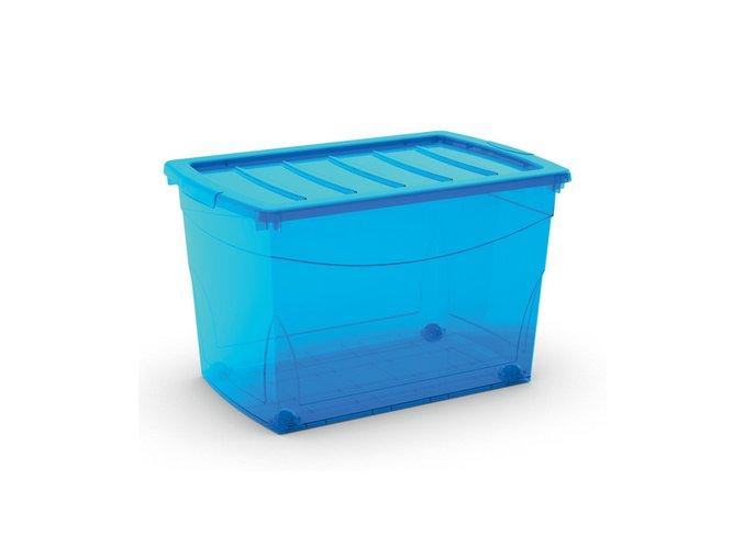 Plastový úložný box s vekom na klip, priehľadný, modrá, 60 l