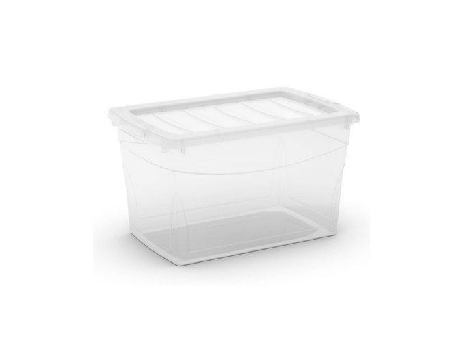 Plastový úložný box s vekom na klip, priehľadný, transparentné, 30 l