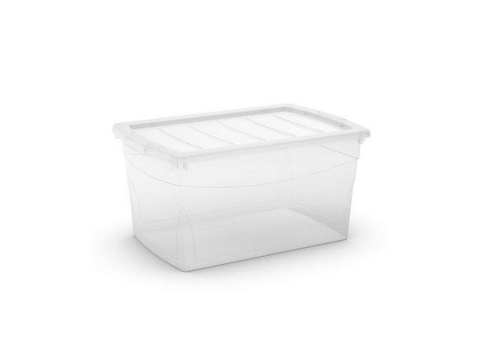 Plastový úložný box s vekom na klip, priehľadný, transparentné, 50 l