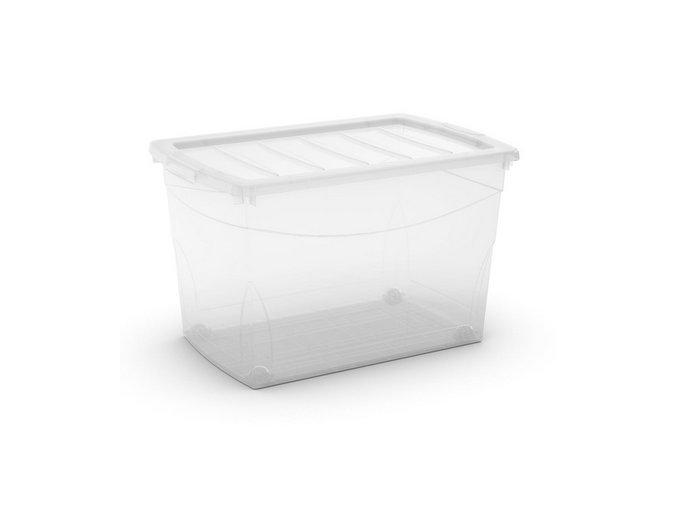 Plastový úložný box s vekom na klip, priehľadný, transparentné, 60 l