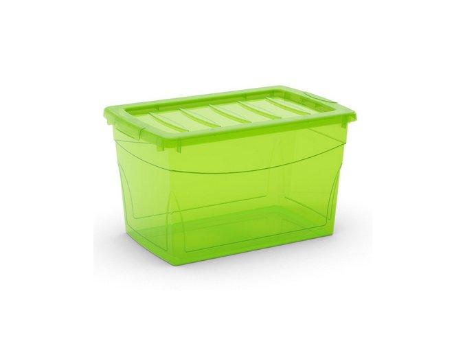 Plastový úložný box s vekom na klip, priehľadný, zelená, 30 l