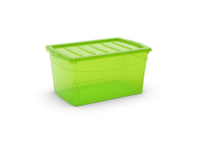 Plastový úložný box s vekom na klip, priehľadný, zelená, 50 l