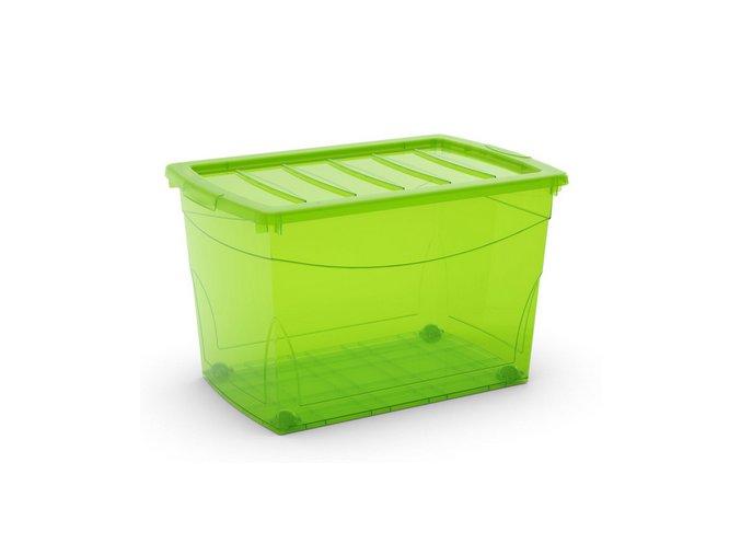 Plastový úložný box s vekom na klip, priehľadný, zelená, 60 l