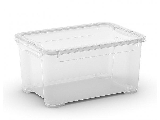 Plastový úložný box s vekom, priehľadný, 13,5 litra