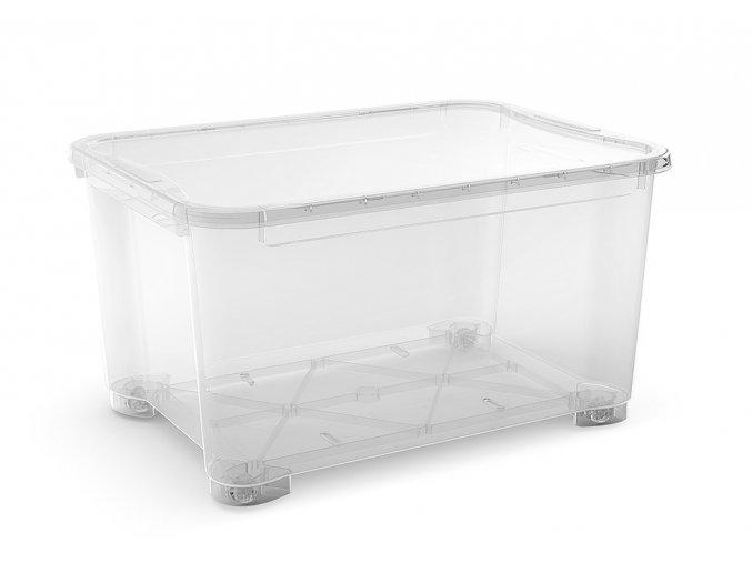 Plastový úložný box s vekom, priehľadný, 145 litrov