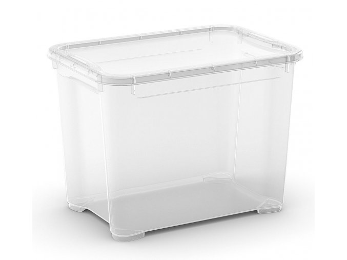 Plastový úložný box s vekom, priehľadný, 20 litra