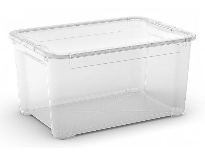 Plastový úložný box s vekom, priehľadný, 47 litra