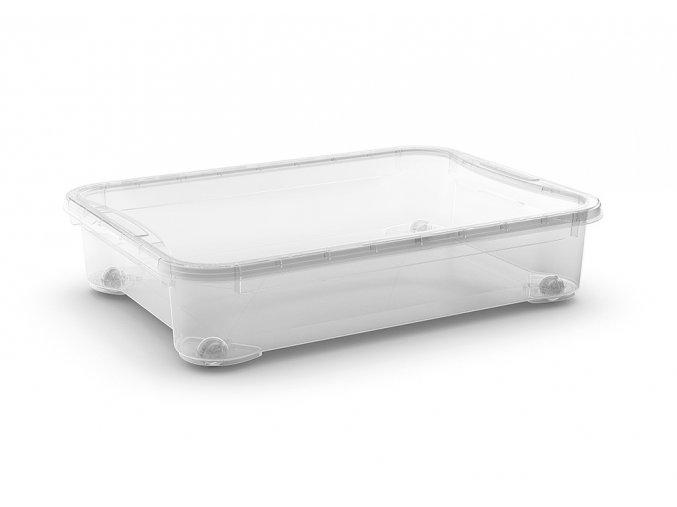 Plastový úložný box s vekom, priehľadný, 54 litrov