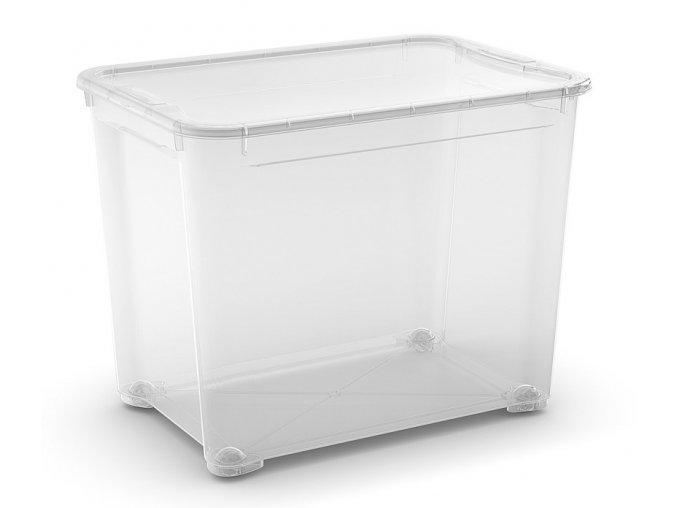 Plastový úložný box s vekom, priehľadný, 70 litra