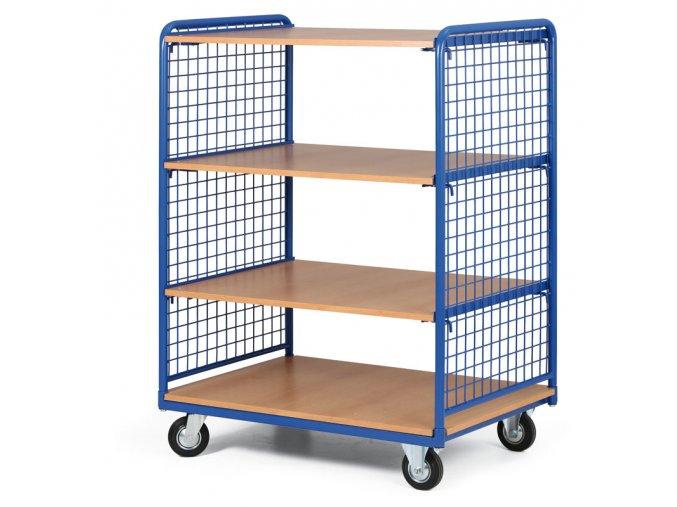 Policový vozík vysoký, dve strany drôtené, štyri poschodia z drevotriesky, 400 kg