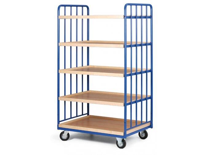 Policový vozík vysoký, dve strany profilov, päť poschodí z ohranenej drevotriesky, 200 kg