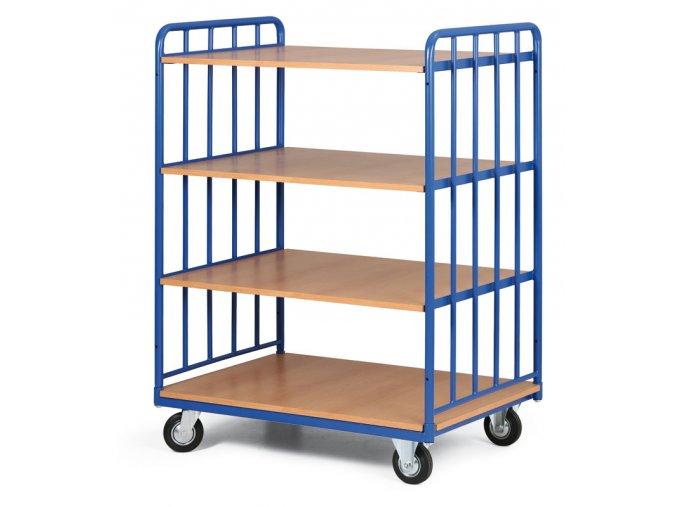 Policový vozík vysoký, dve strany profilov, štyri poschodia z drevotriesky, 300 kg
