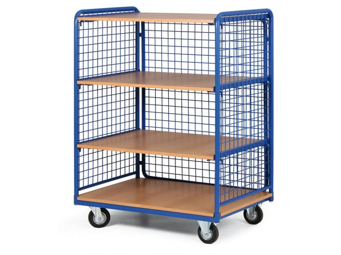 Policový vozík vysoký, tri strany drôtené, štyri poschodia z drevotriesky, 200 kg