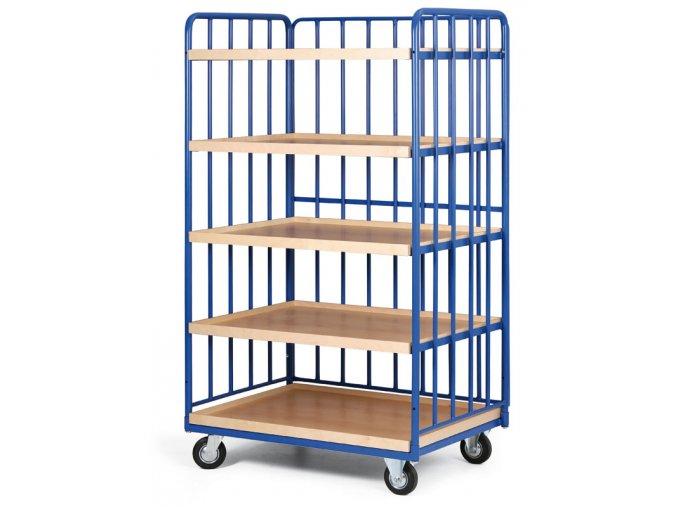 Policový vozík vysoký, tri strany profilov, päť poschodí z ohranenej drevotriesky, 200 kg