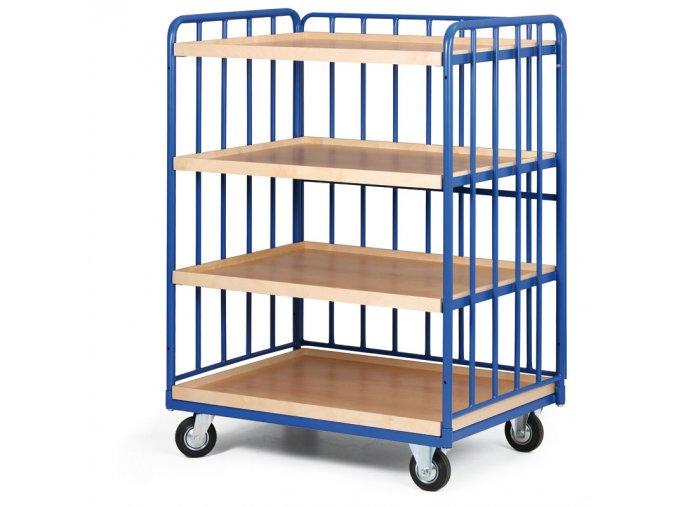 Policový vozík vysoký, tri strany profilov, štyri poschodia z ohranenej drevotriesky, 300 kg